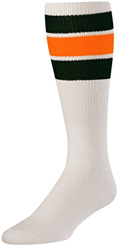 TCK Retro 3 Stripe Tube Socks (White/Black/Orange, Large)