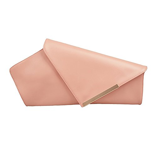 Pale Pink Leather Clutch Asymmetrical Women Purse Bag by Mura Gura