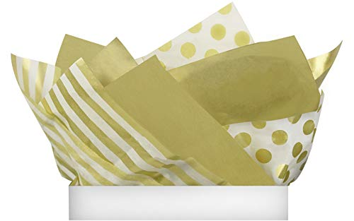 UNIQOOO 60 Sheets Premium Metallic Gold Assorted Gift Wrapping Tissue Paper, Mixed 12 Gold/24 Stripes/24 Polka Dot, 20 x 26 inches Recyclable, for Wedding Packing Holiday DIY Crafts Decorative Pom Pom
