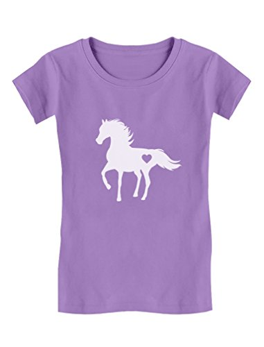 Tstars - Gift for Horse Lover Love Horses Girls' Fitted Kids T-Shirt XL (11-12) - Horse Lovers T-shirt