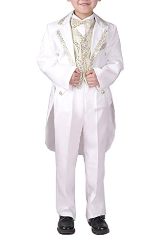 YUFAN Boys Black/White 5 Pieces Tuxedo Suits with Tail Tailcoat Vest Pants Shirt Bow Tie (White-Gold, 4T)