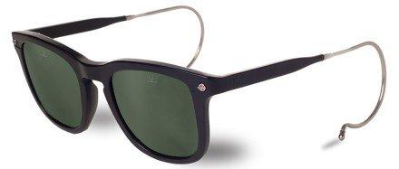 Vuarnet VL150900011121 Hooks Cable Temple Sunglasses Matte Black Frame Pure Grey Glass - Vuarnet Wayfarer Sunglasses
