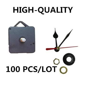 Maslin 100 Sets/lot New 18mm Shaft Quartz Clock Movement Mechanism Black Heart Hands DIY Replace Repair Wall Clock Parts Kit