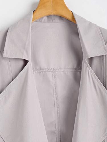 Cappotto Donna Cardigan Con Autunno Caldo Cappuccio Felpato Grey Leggera Casual Giacca Scothen Light Corta Antivento Da PFq77I