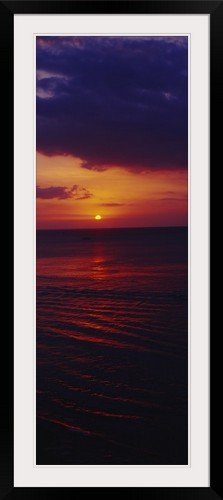 GreatBIGCanvas ''Sunset over the ocean, Bali, Indonesia'' Photographic Print with Black Frame, 17'' x 48'' by greatBIGcanvas