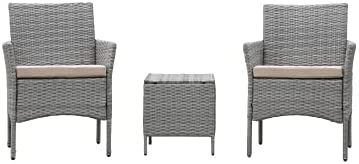 GetNature 3 Pcs Outdoor Conversation Set Garden Patio 2 Armchair + 1 Table