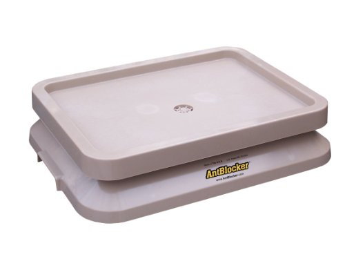 ANTBLOCKER Ant Free Dog Food Bowl Tray - Sandstone - 19in x 14in x 4in - Keeps ants and most other crawling pests out of your pets food
