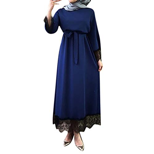 Muslim Dress, Womens Dresses 2019 Abaya Dubai Jilbab Moroccan Plus Size Kaftan Maxi Dress Blue ()
