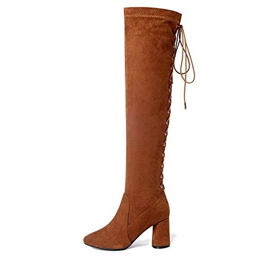 Stiefel Wildleder Outdoor Reitstiefel Lace ups Runde Büro Boots Ferse Stretch Seitlicher Mitte Reißverschluss High Damen Toe Block Overknee vwzzqa1