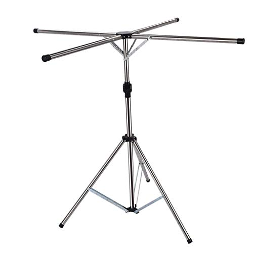 SN Foldable Clothes Airer Rail,Retractable Clothes Hanger Stand Four Arms | Clothes Drying Rack Indoor/Outdoor Adjustable Tripod
