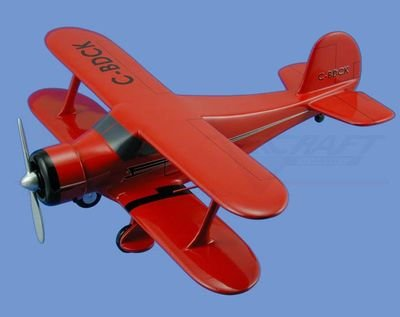 "Beech  Model 17 ""Staggerwing"",  Red w/ Black Trim Aircraft Model Mahogany Display Model / Toy. Scale: 1/26"