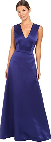 Alberta Ferretti Women's Sleeveless V-Neck Satin Gown, Deep Blue, (Alberta Ferretti Sleeveless)