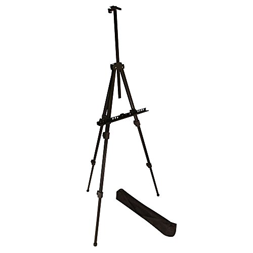 Easel, Berland Black Aluminum 71 Inches Tall, Portable, Lightweight and Sturdy Telescoping Tripod for Tabletop or Floor - Perfect for Field, Display and Presentation - Includes Carry Bag