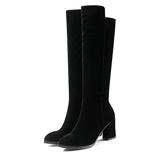HOESCZS 2019 Hohe Qualität Frauen Kniehohe Stiefel Platz High High High Heel Spitz Mode Reißverschluss Echte Frauen Stiefel Größe 34-40 c77ac5
