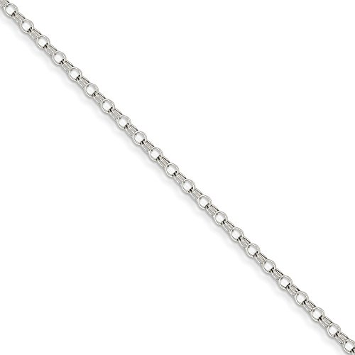 (14k White Gold 3mm Solid Double Link Charm Bracelet 7 Inch Fine Jewelry Gifts For Women For Her)
