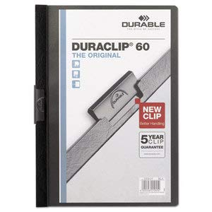 Durable Vinyl Duraclip Report Cover W/Clip, Letter, Holds 60 Pages, Clear/Black, 25/Box by Durable