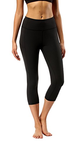 Womens Black Yoga Workout Leggings - Olacia High Waisted 4-Way Stretch Capri Leggings Black Tummy Control Athletic Running Leggings with Pockets Medium ()