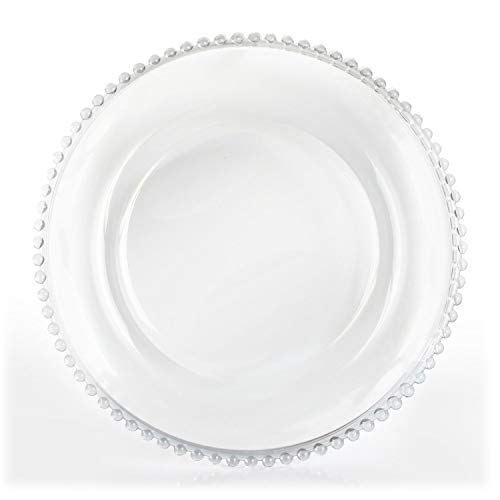 Tiger Chef 12-inch Clear Round Beaded Glass Charger Plates Set of 2,4,6, 12 or 24 Dinner Chargers (2-Pack)
