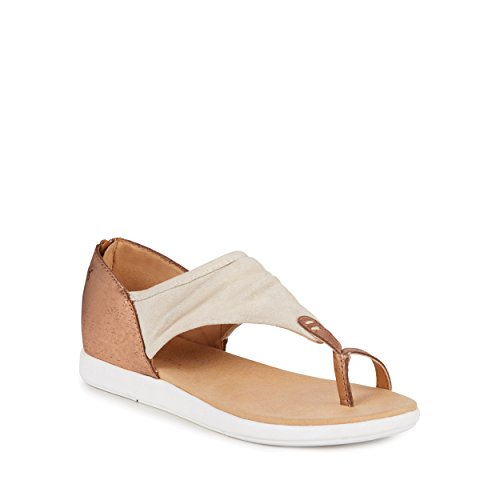 EMU Australia Womens Sandals Yarra Nappa Leather in Natural/Rose Gold
