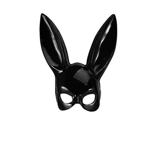 xiangliood Masquerade Rabbit Bunny Fancy Mask for Carnival Easter Party Cosplay Costume Accessory Women Bright Black