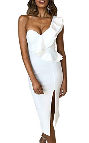 ECOWISH Women's Dresses Sexy Ruffle One Shoulder Sleeveless Split Bodycon Midi Party Dress White XL