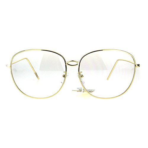 Womens Oversize Nerdy School Girl Metal Rim Retro Eyeglasses - Nerdy For Girls Glasses
