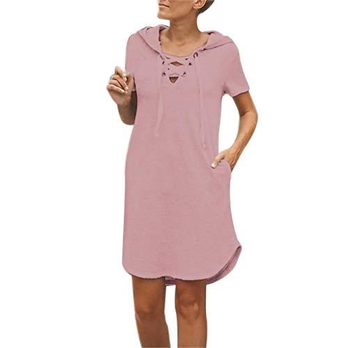 ✔ Hypothesis_X ☎ Women's Party Cocktail Dress V Neck Backless Wedding Party Dress Bandage Sleeveless Mini Dress Pink