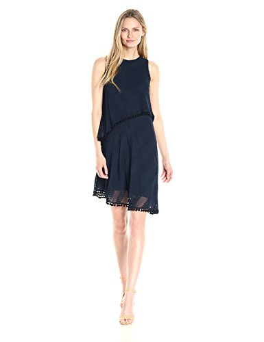 Asymetrical Hem Dress - London Times Women's Sleeveless Round Neck Shift Dress w. Asymetrical Hem, Navy, 12