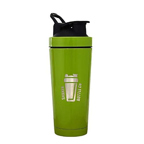 Stainless Steel Shaker Bottle | 24oz. Ball-Less Blender for Protein Shakes by Shaker Bottle Co. (Green)