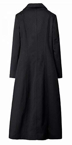 2 2 2 Elegante Moda Monocromo Donna Donna Donna Schwarz Trench Fit Breasted Lunga Vintage Cappotti Invernali Calda Bavero Di Windbreaker Giubotto Slim Double Manica H5an8xwa