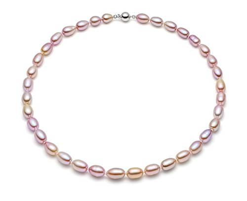 HinsonGayle AAA Handpicked 8-8.5mm Lavender Oval Freshwater Cultured Pearl Necklace Silver 18 inch-18 in length by HinsonGayle Fine Pearl Jewelry