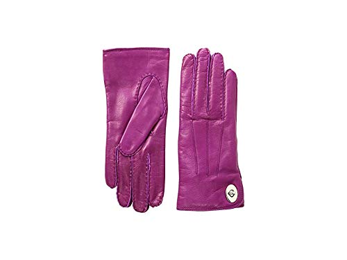 - COACH Women's Leather Turnlock Gloves Fuchsia 8