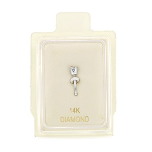 14K White Gold 1.3mm .01 cttw Diamond Nose Ring Straight Stud 22G