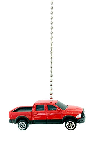 (Dodge Diecast Ceiling Fan Light Pull Chain Ornaments (Dodge Ram 1500 Rebel Red Black))