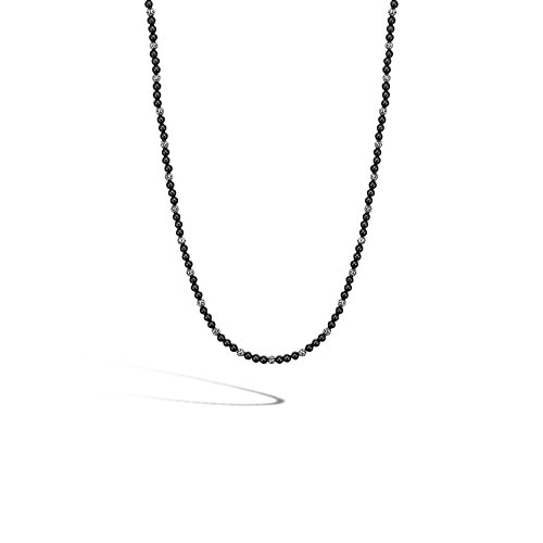 John Hardy 4mm Black Onyx and Sterling Silver Beads Chain Necklace, 20-24 inches