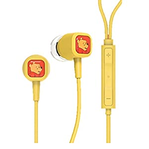 Character Earphone – Pooh – Compatible with iPhone and Android Phones – Microphone – Hands-Free Earbuds – 1.2m Long – 3.5mm Plug