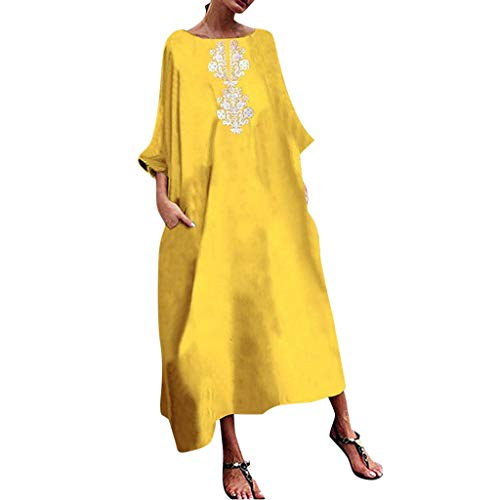 Scrub Poppy Hat - Tantisy ♣↭♣ Women's Plus Size Cotton and Linen Casual Dress Vintage Kaftan Print Dress Summer Ladies A-line Long Dress Yellow