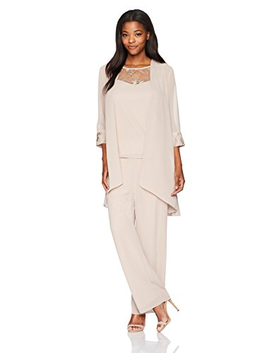 Le Bos Women's 3 Piece Pant Suit, Latte, 8