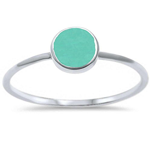 (Sterling Silver Round Simulated Turquoise Ring Sizes 6)