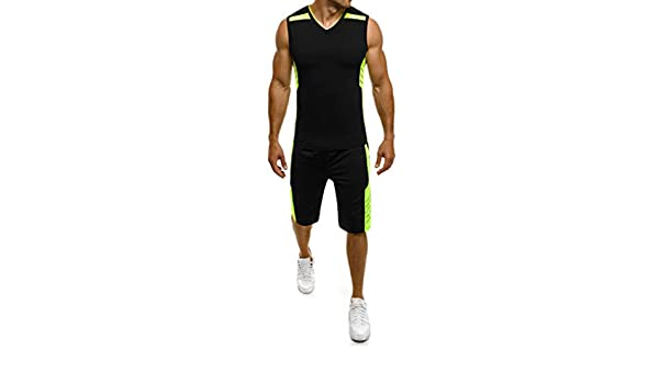 Mens Casual Slim Sleeveless Tank Top T-Shirt Shorts Pants Suit Top Blouse Palarn Mens Fashion Sports Shirts