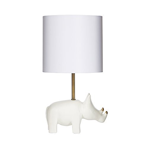 Silverwood CPLT1525 Gold Accented Rhino Table Lamp Resin, 16'' H, White by Silverwood