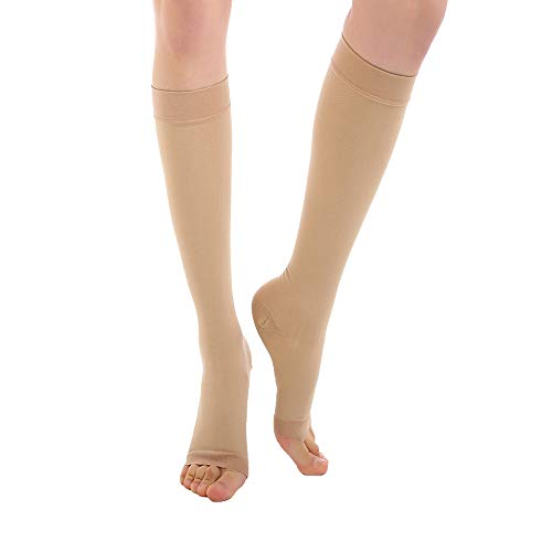 Open Toe Knee High  Compression Socks 20-30 mmHg, Mediacl Calf Compression Sleeve Firm Support Graduated Compression Stockings Women & Men  Recovery Shin Splints,Edema,Nursing,Varicose Veins