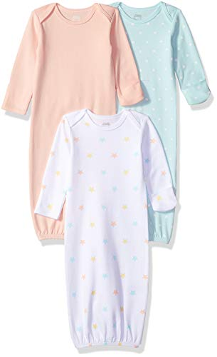 Amazon Essentials Baby Boys 3-Pack Sleeper Gown, Uni Stars, 0-6M