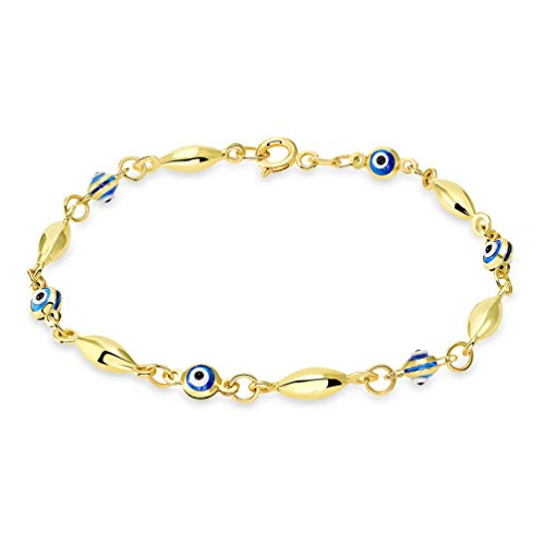 14k Solid Yellow Gold Mini Oval Shaped Bead Blue Evil Eye Bracelet with Spring Ring Clasp, 6