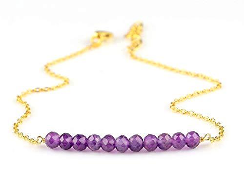14k Gold Filled Natural Amethyst Gemstone Beaded Handmade Bar Silver Bracelet Women Jewelry Gift For Mom Her Anniversary