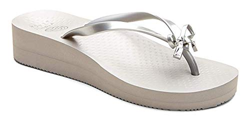 Vioinc Women's Beach Bondi Flip-Flop Sandal - Ladies Thong Sandals with Concealed Orthotic Arch Support Silver 10 M US