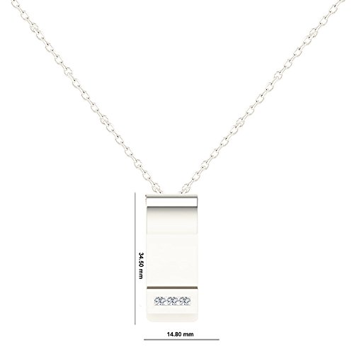 Libertini Pendentif argent 925 serti de Diamant en forme de Feuille