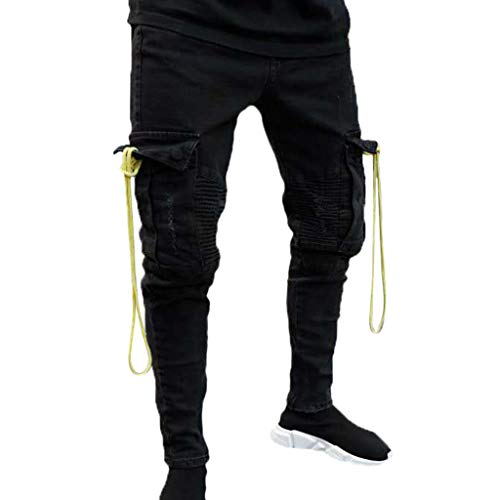 Men's Cargo Pants Slim Fit Casual Jogger Pant Chino Trousers Sweatpants Tapered Leg Moto Biker Jeans Workwear Black