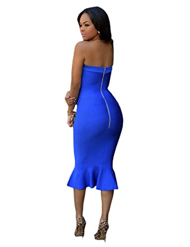Bodycon Evening Elegant Off Tail Women's Blue Back Century Party Zipper Shoulder Dress Falbala Strapless Star Sexy Shaped 6cn7FHWFSB
