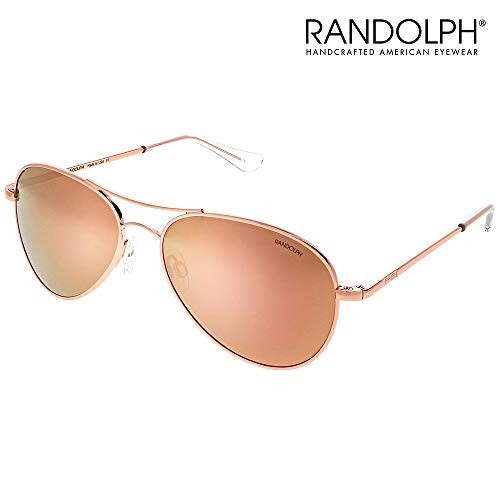 Amelia Aviator Sunglasses for Women - Randolph Engineering Lightweight Aviator Sunglasses. Built to Military Standards. Made in USA. 100% UVA/UVB Ray Protection. 22k Rose Gold, Rose Gold Lenses, 57mm (Sonnenbrille Aviator Schwarz)